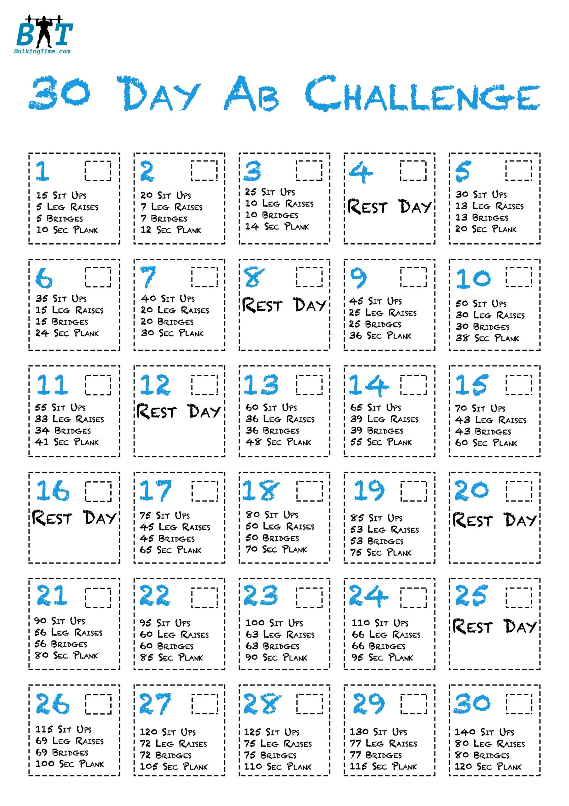 The 30 Day Ab Challenge - Get That 6 Pack! Within 30 Day Sit Up Challenge Printable Beginnerss