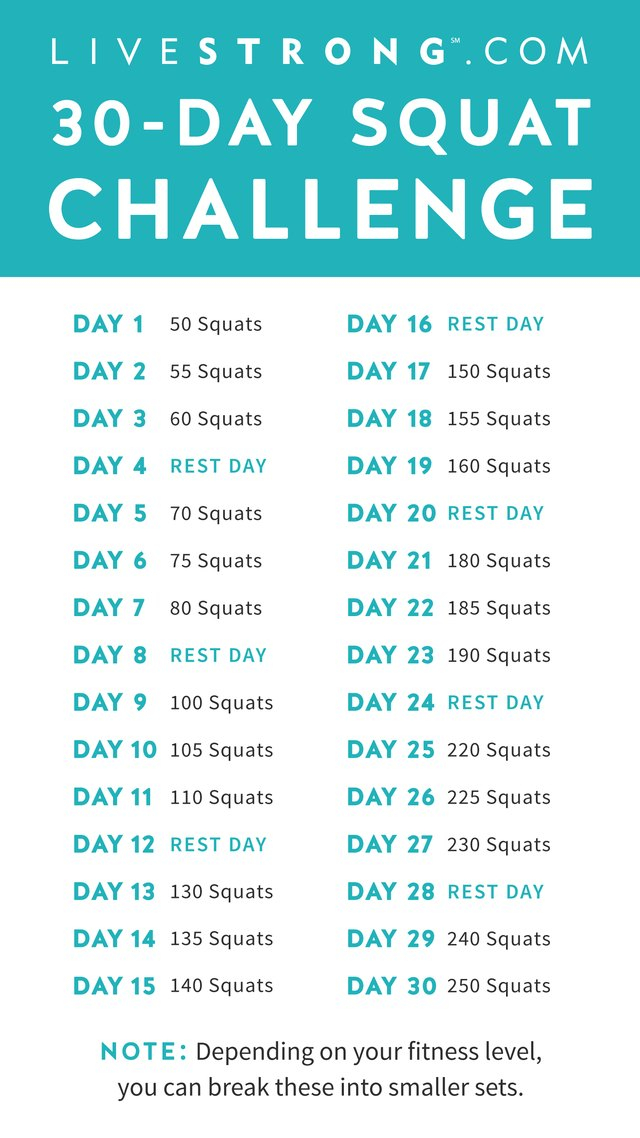 The 30 Day Squat Challenge | Livestrong Regarding 30 Days Abs Challenge Calendar