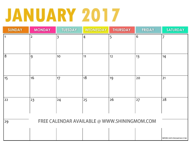 The Free Printable 2017 Calendarshining Mom With How To Create Countdown 2 Year Calendar Starting In April