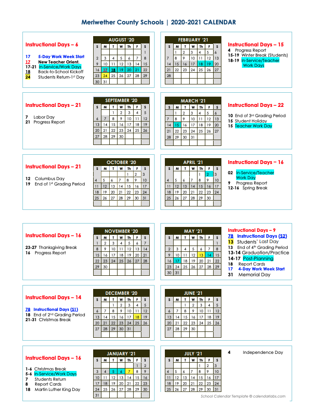 Uwg Calendar Spring 2021 | 2021 Calendar Pertaining To Bay Co School Calendar 2021 2021