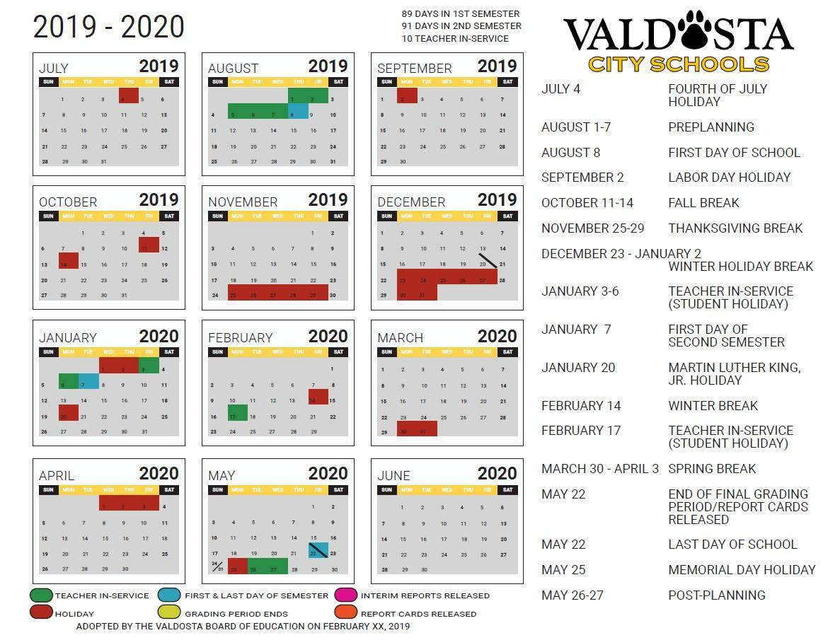 Valdosta City School District Intended For Georgia State University Semester Calendar