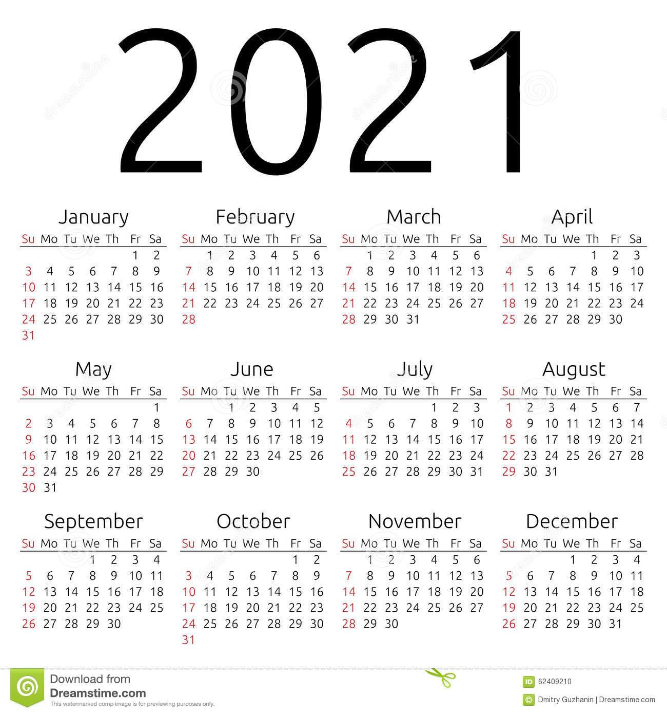 Vector Calendar 2021, Sunday Stock Vector – Image: 62409210 Intended For University Of New Mexico 2021 Calendar