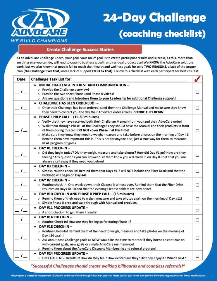 What Next? How To Succeed - The Champion Builders Pertaining To Printable Guide Advocare 24 Day Challenge