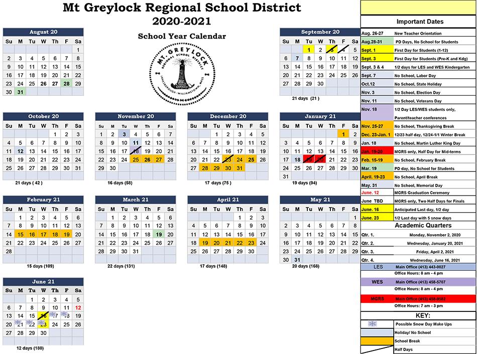 Williamstown Lanesborough Public Schools Calendar 2020 And In West Bloomfield School Calendar 2021  2020