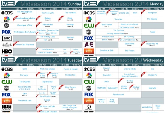 Winter/Spring 2014 Daily Tv Schedules | Tv Equals Regarding Printable Tv Premiere Calendar