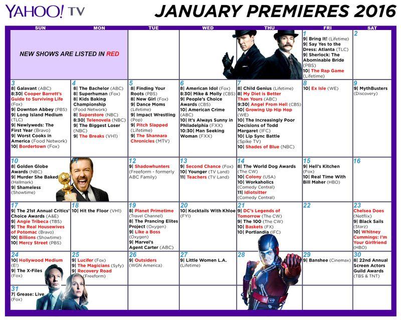 Winter Tv 2016 Schedule: Print Out A Premiere Dates Calendar With Regard To Winter Tv Premiere Dates Calendar