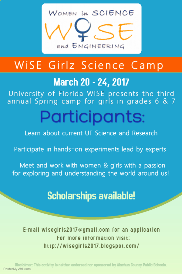 Wise Girlz Science Spring Camp | Idigbio Pertaining To Alachua County Public School Spring Break
