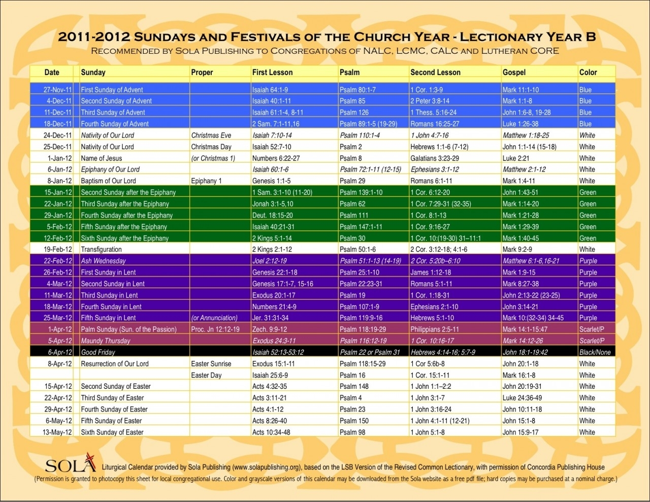 Year B Liturgical Calendar | Ten Free Printable Calendar Within Liturgy Of The Hours 2021 Printable