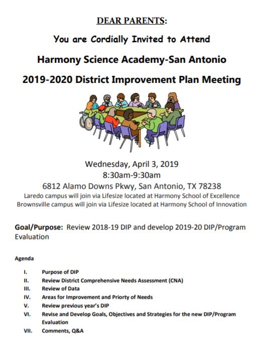 2019 2020 District Improvement Plan Meeting - 5   Harmony Throughout Brownsville Independent School Calendar