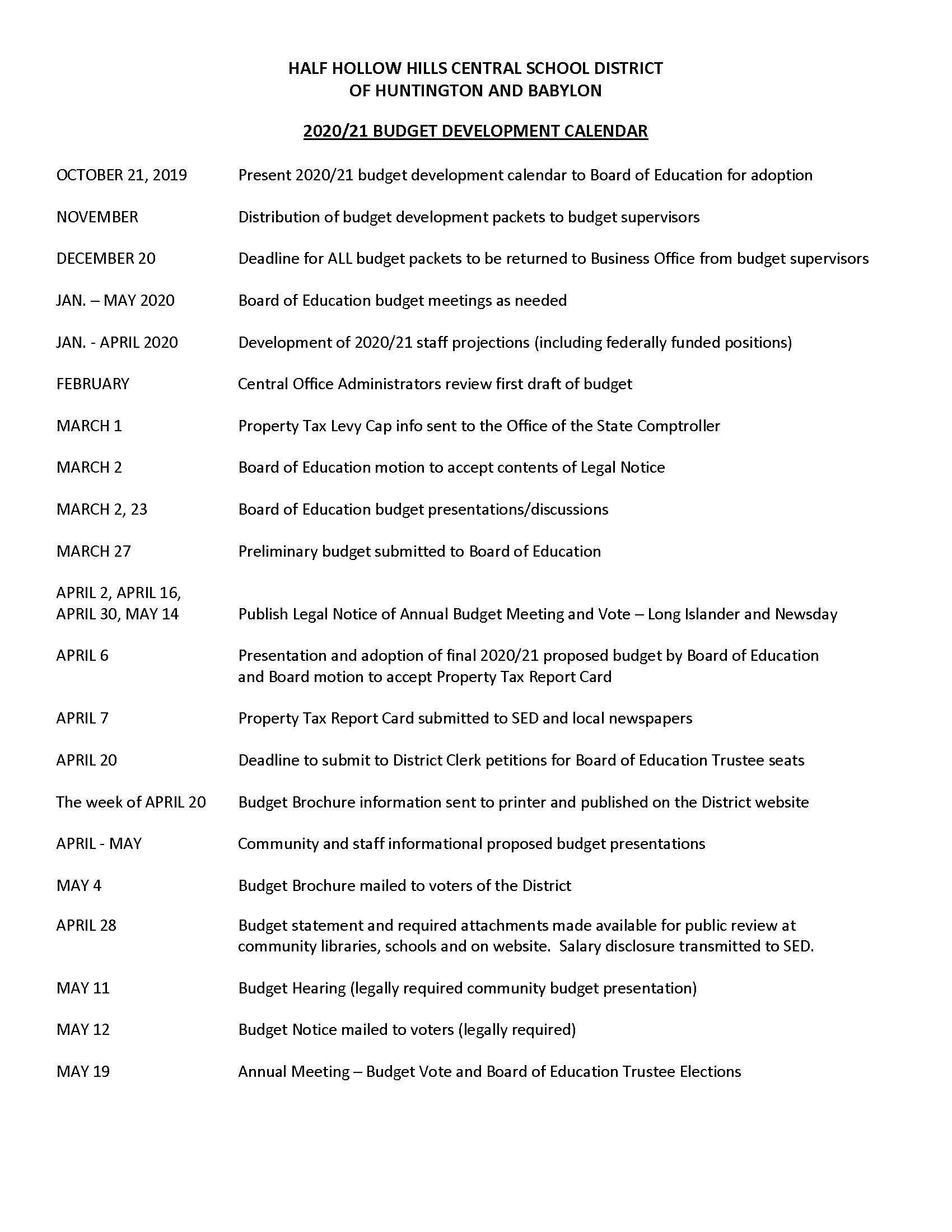 2020 21 Budget Calendar – Half Hollow Hills School District Inside Penn Hills School District 2021 2020 Calendar
