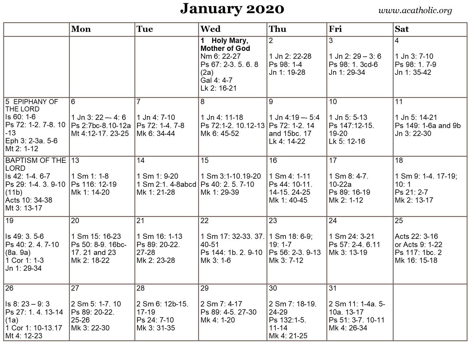 2020 Catholic Liturgical Calendar Readings   Free Within Free Catholic 2020 Saints Calendar