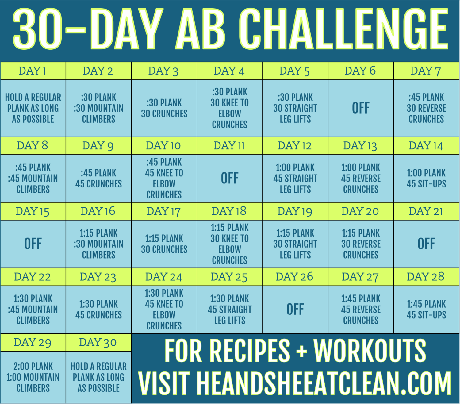 30 Day Ab Workout Challenge | Plank Challenge, Workout Within Sit Up Challenge Printable