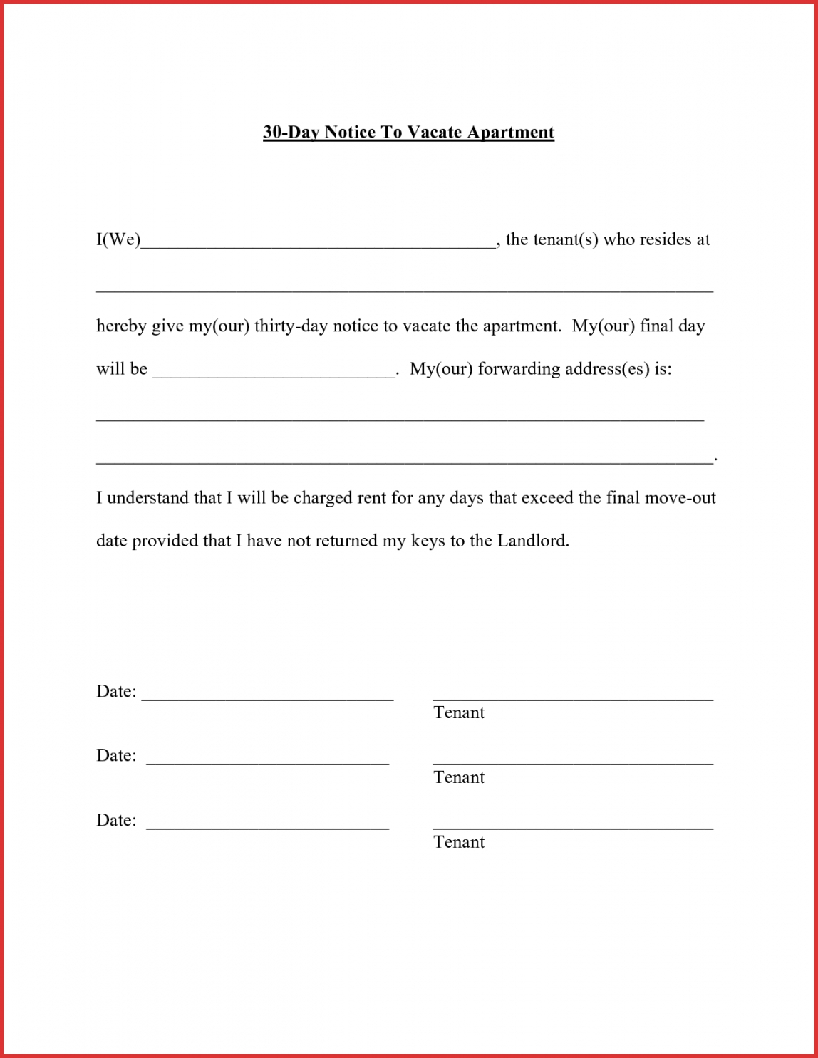 30 Day Notice To Move Template With Regard To Word Of The Day Template