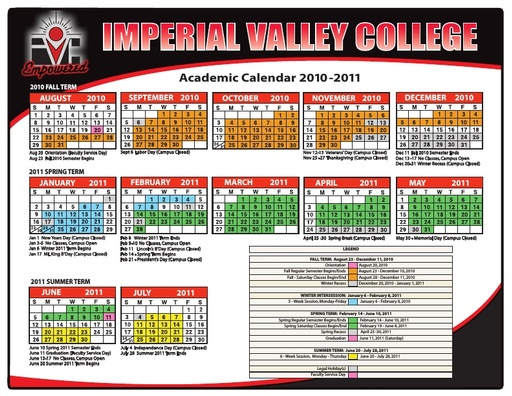 Academic Calendars - Courses & Programs - Imperial Valley For Academic Calendar For Delaware State