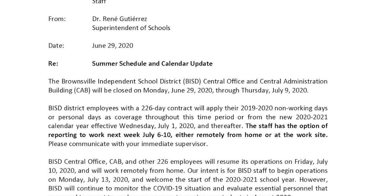 Brownville Isd Headlines: Bisd Superintendent Of Schools For Brownsville Independent School Calendar