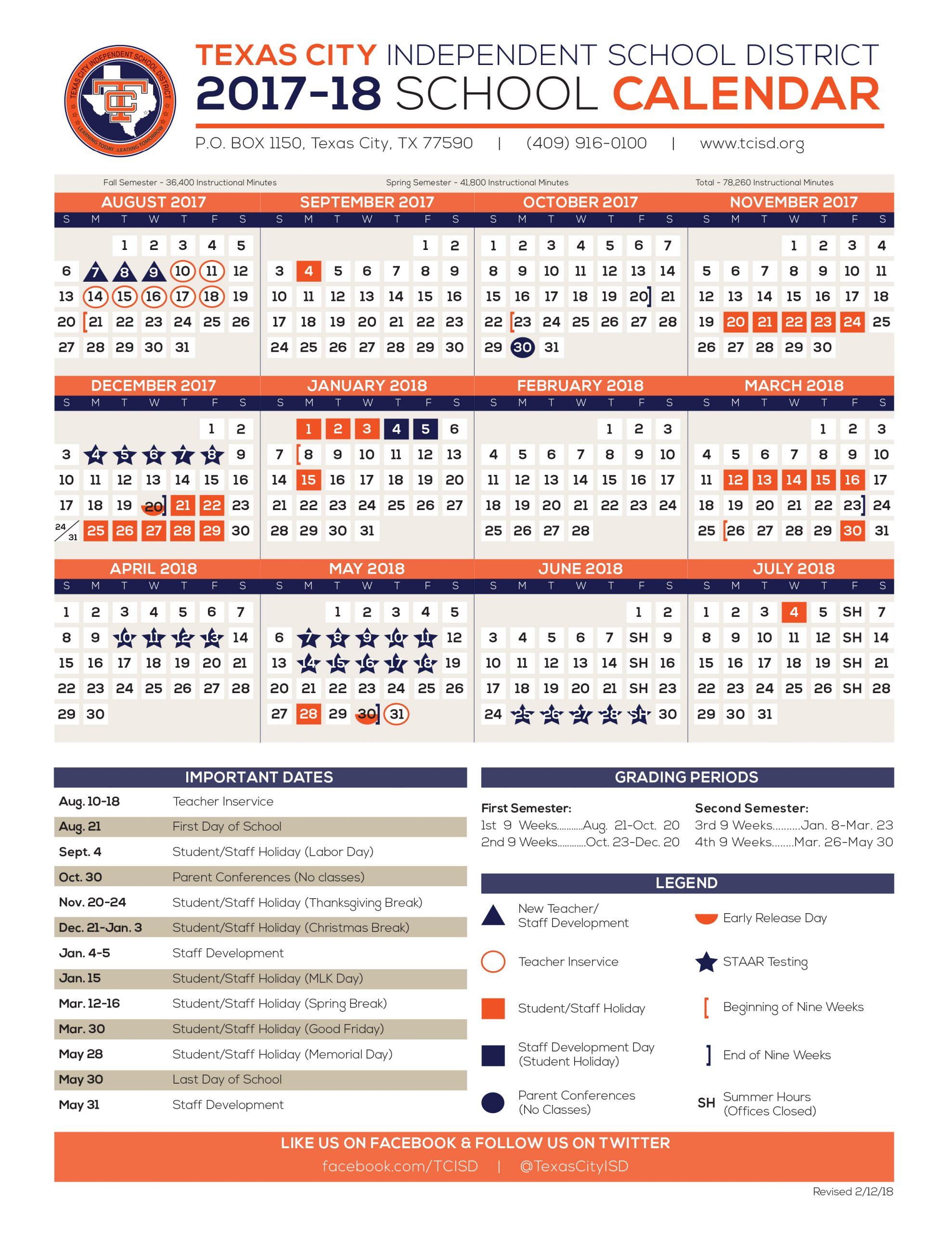 Calendar - Texas City Independent School District For Brownsville Independent School Calendar