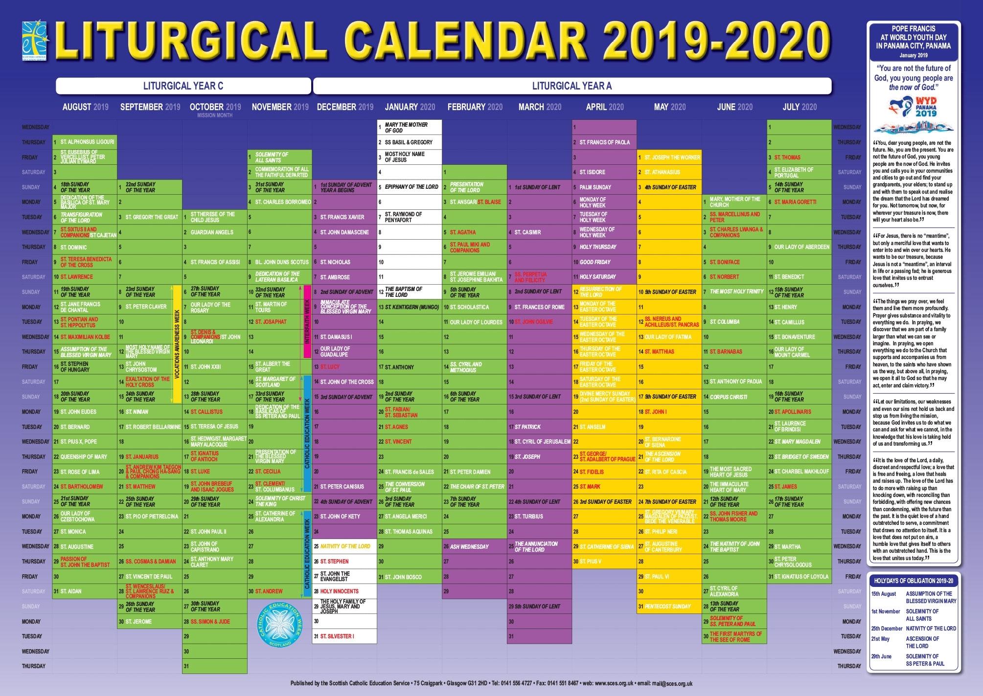 Catholic Liturgical Calendar For Lent 2020 - Calendar with regard to Free Catholic 2020 Saints Calendar