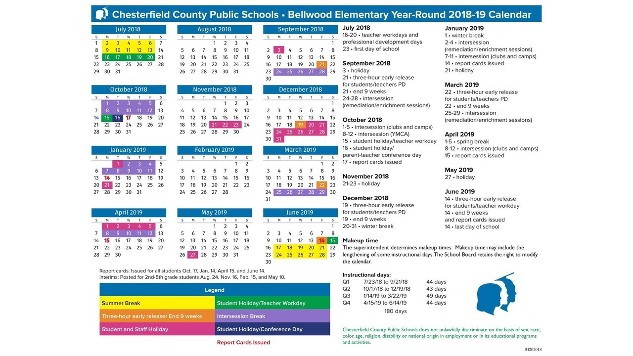 Chesterfield County Public Schools Calendar | Qualads In Year Round School Calendar Sample