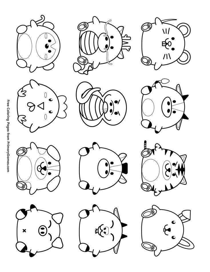 Cute Chinese Zodiac Symbols Coloring Page • Free Printable Throughout Free Printable Chinese Zodiac