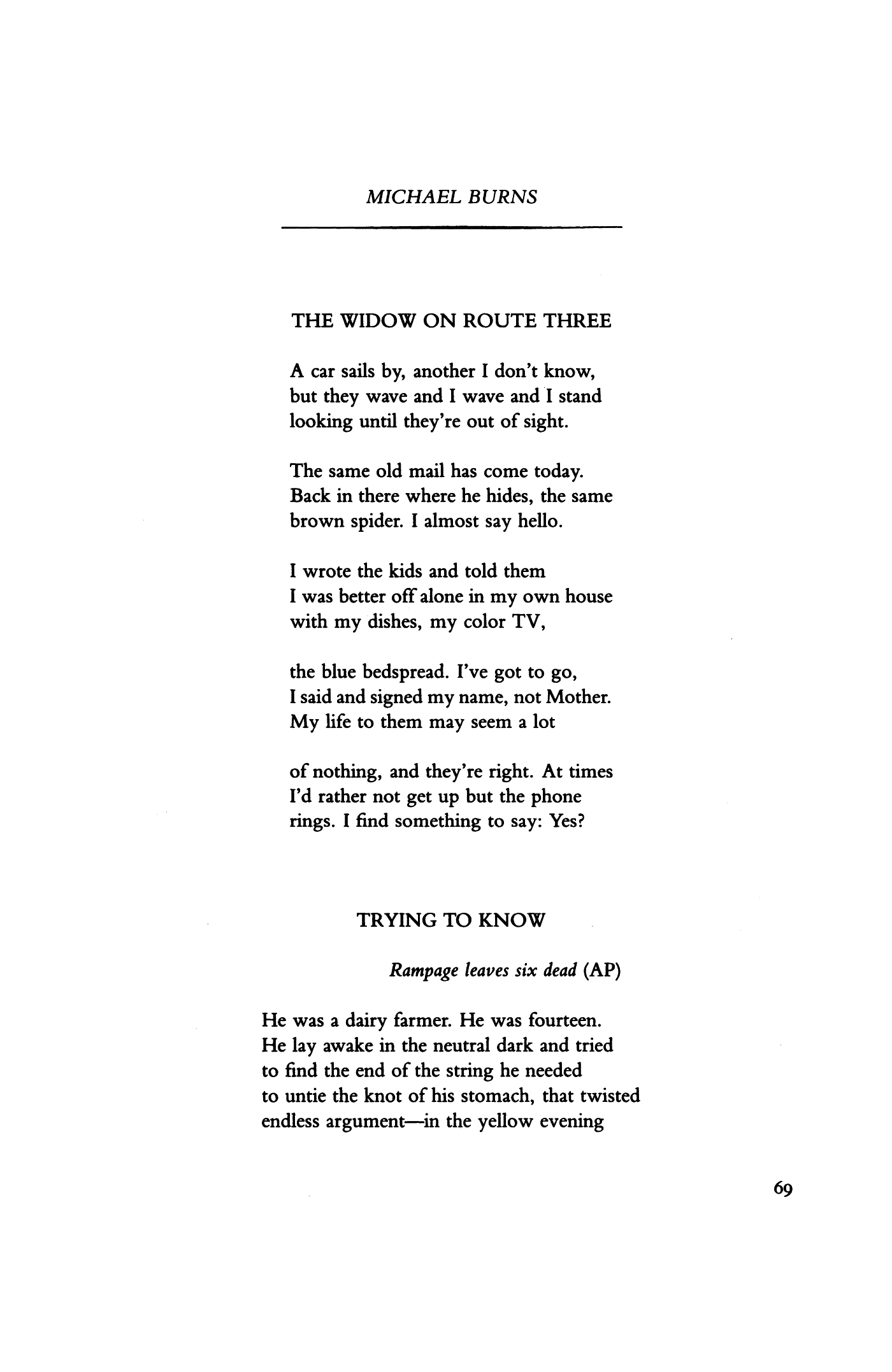 Dianaandrew Hoyem   Poetry Magazine Pertaining To Jacob Burns Printable Schedule