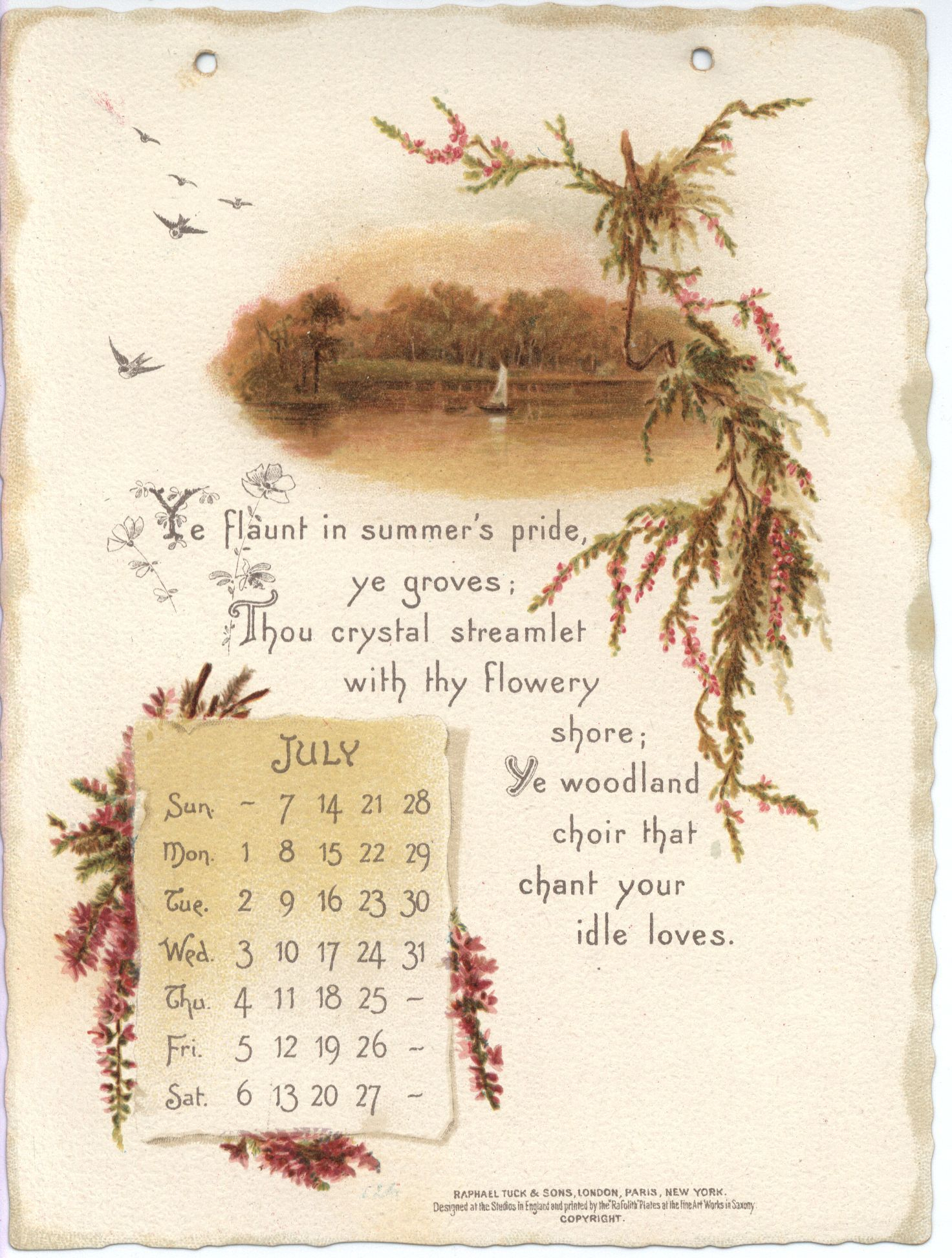 Full Sized Image: Auld Lang Syne Calendar For 1895 With Intended For Jacob Burns Printable Schedule