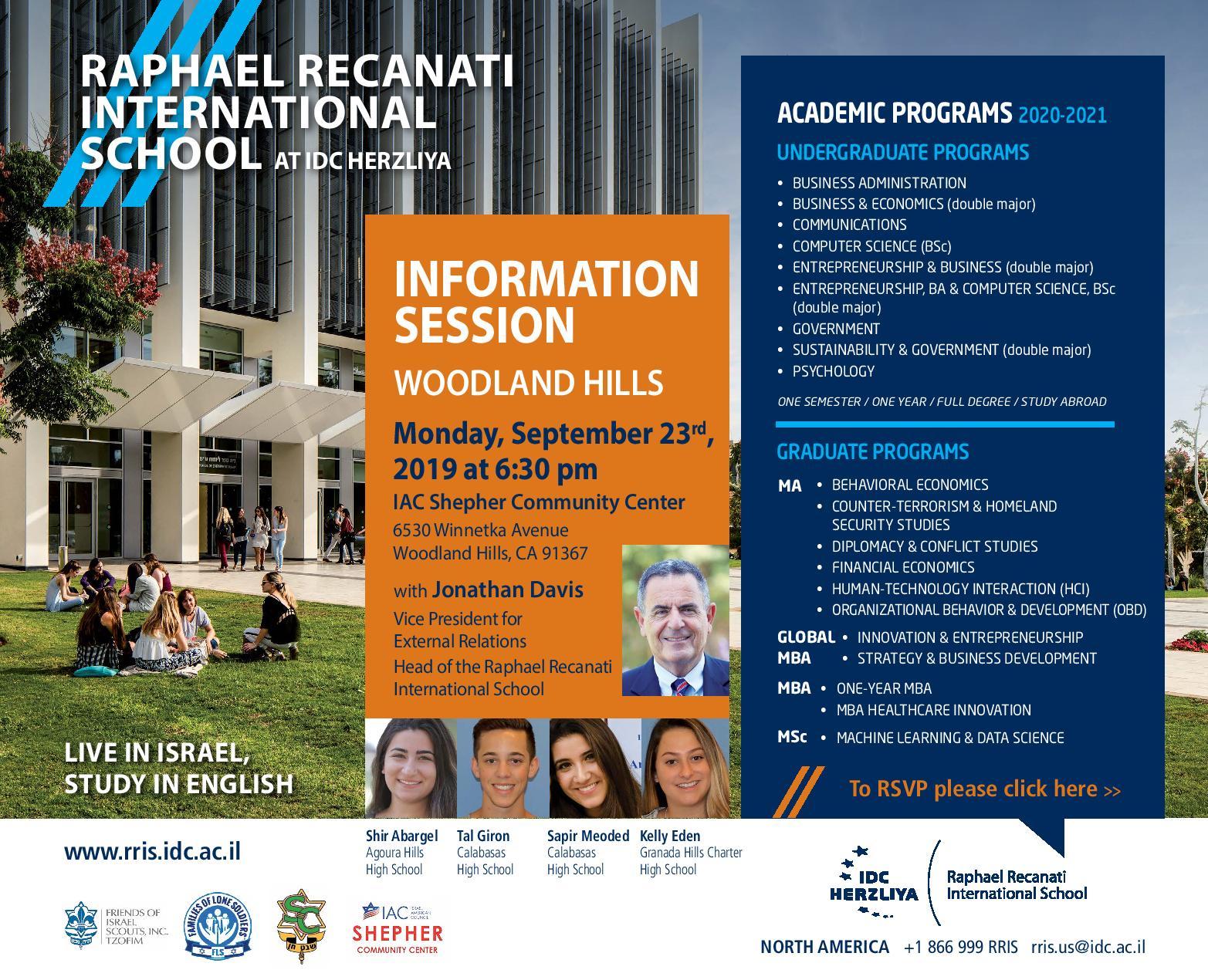 Idc Herzliya Raphael Recanati International School Regarding Woodland Hills School District Calendar