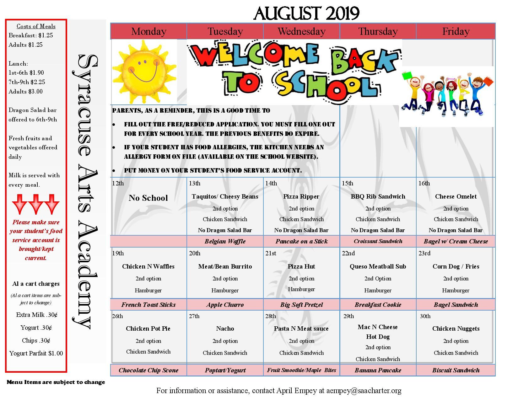 Lunch Calendar – Syracuse Arts Academy In North Syracuse School District Calendar
