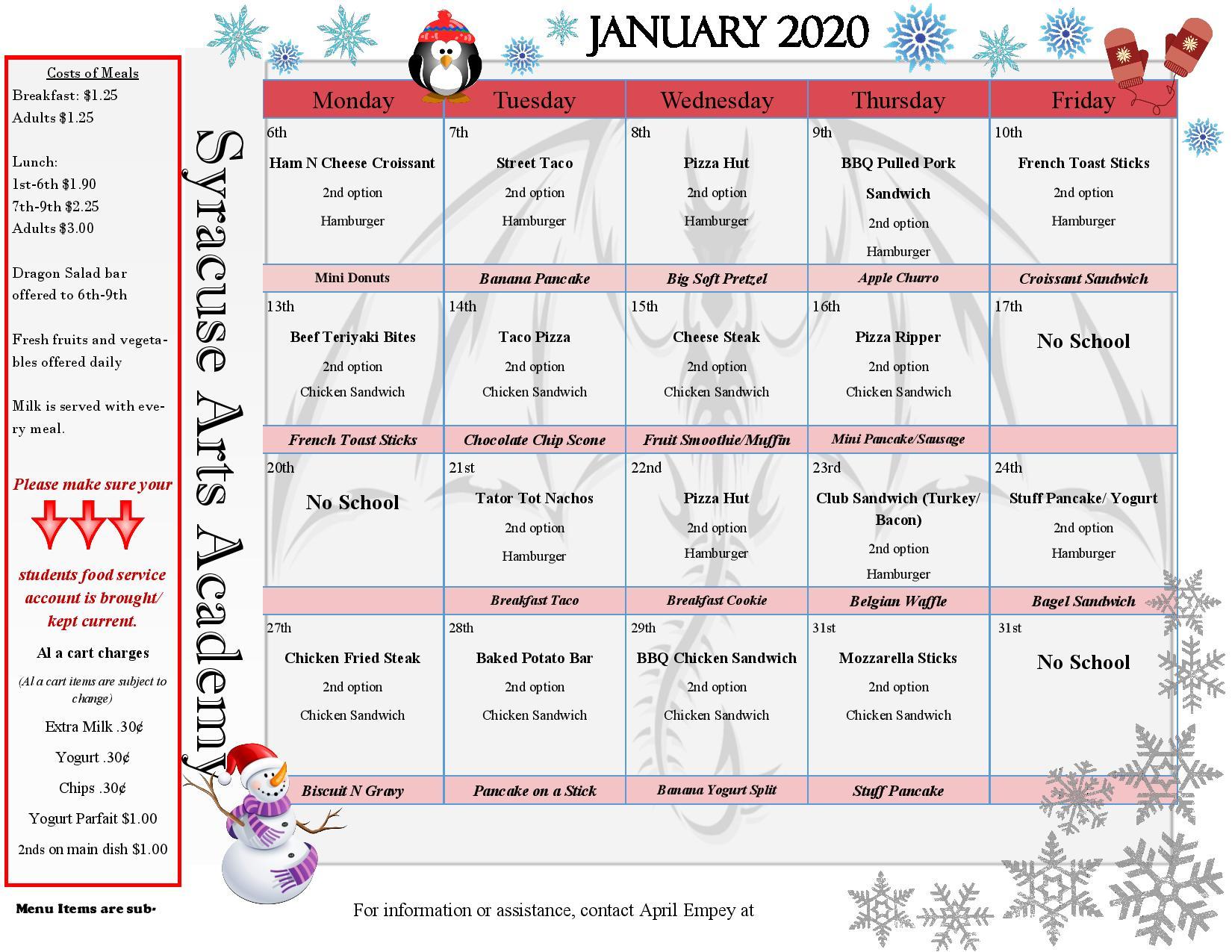 Lunch Calendar – Syracuse Arts Academy Inside North Syracuse School District Calendar