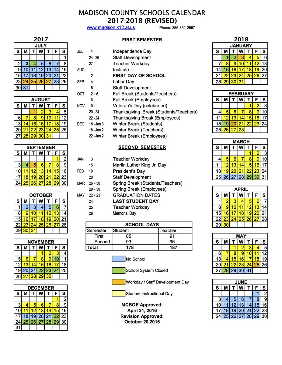 Madison County Schools School Year Calendar | Printable For Year Round School Calendar Sample