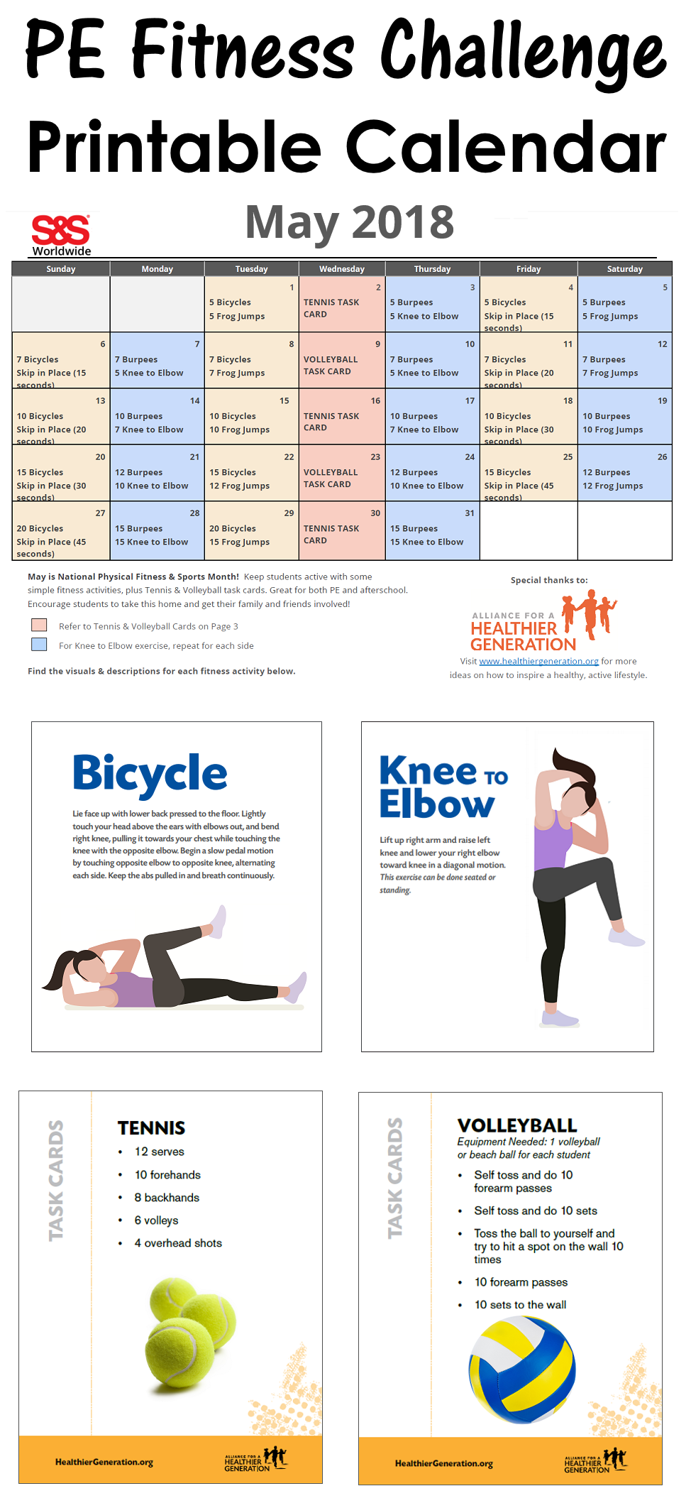 May Printable Fitness Challenge Calendar   Workout With Regard To Fitness Calendar For Kids May 2021