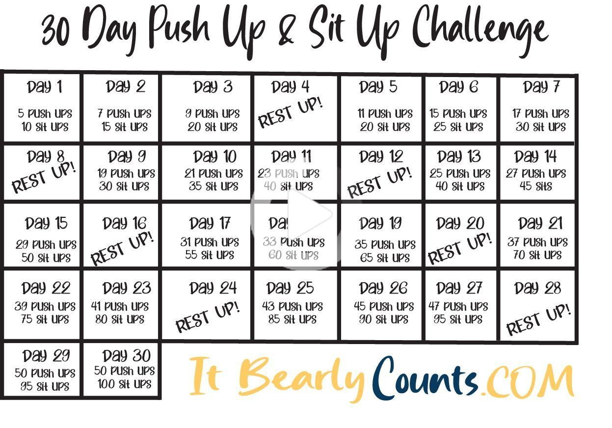 Pin On 30 Day Challenge Fitness Inside Sit Up Challenge Printable