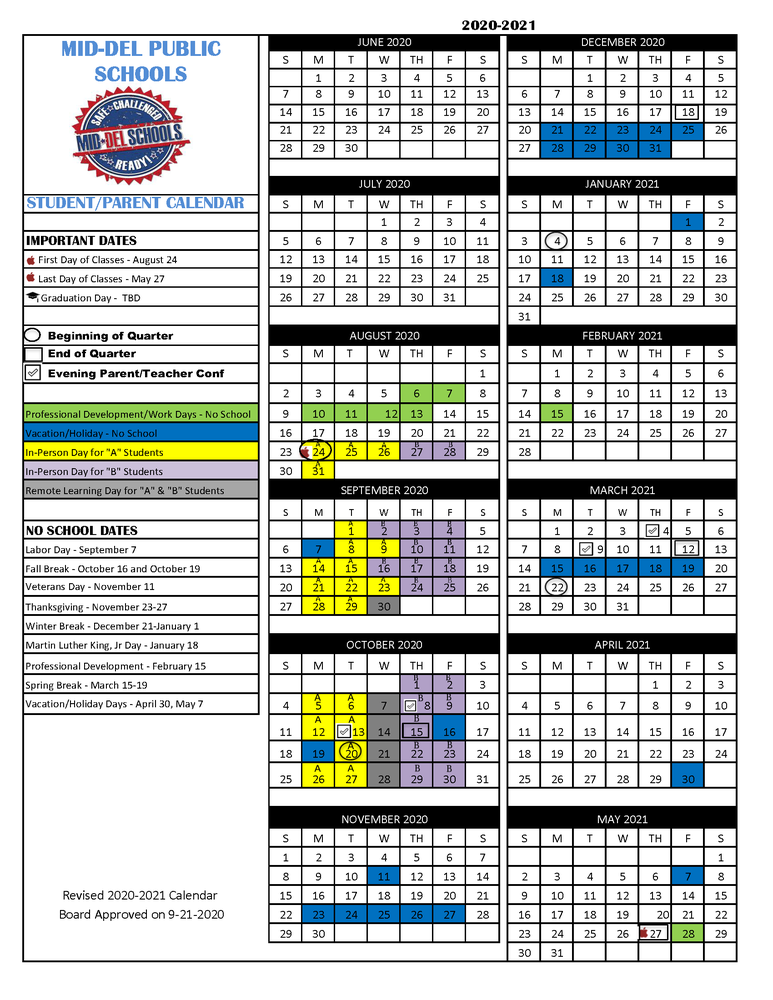 Revised 2020 2021 School Year Calendar - Approved 9/21 With Academic Calendar For Delaware State
