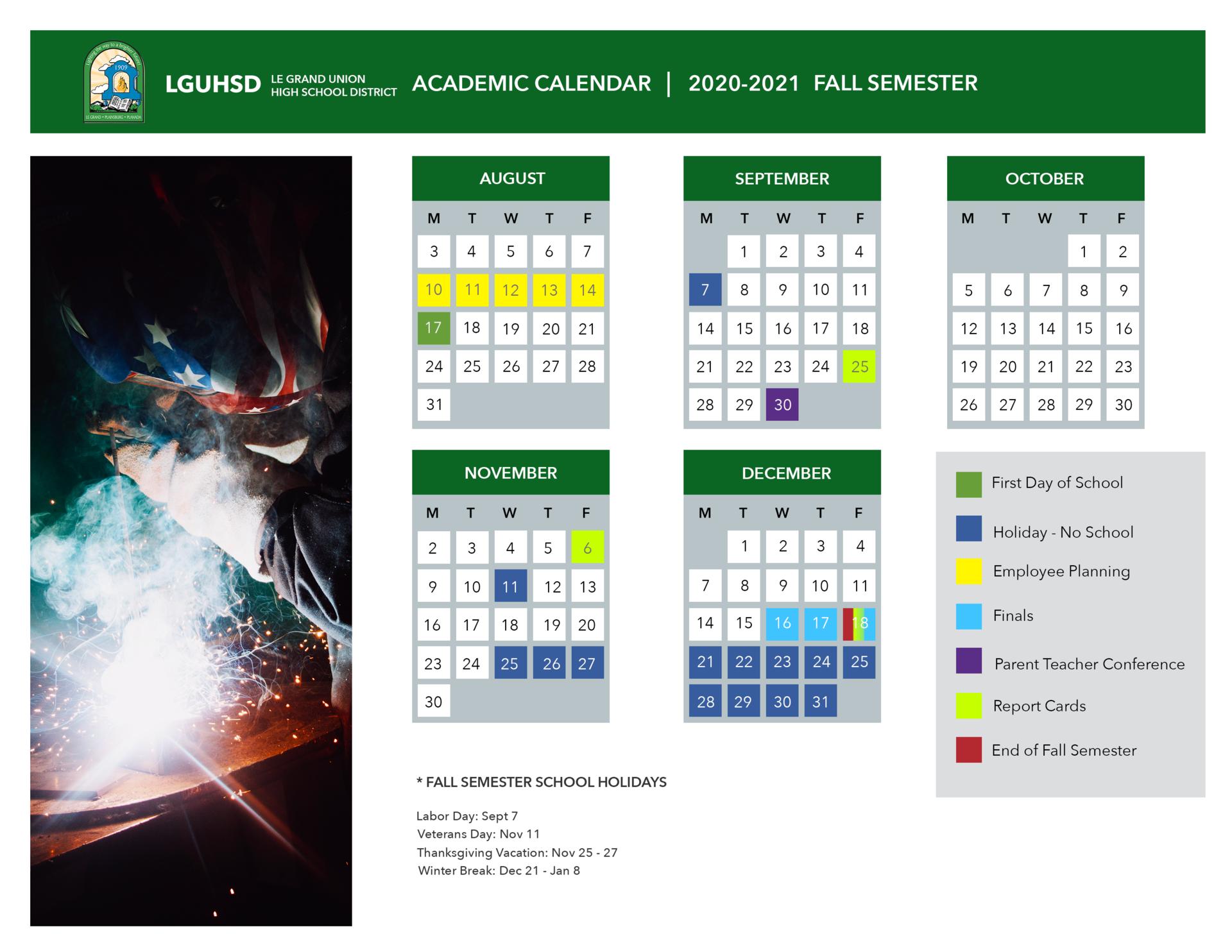 School Calendar – District – Le Grand Union High School Within Grand Canyon University Calendar 2021 2020