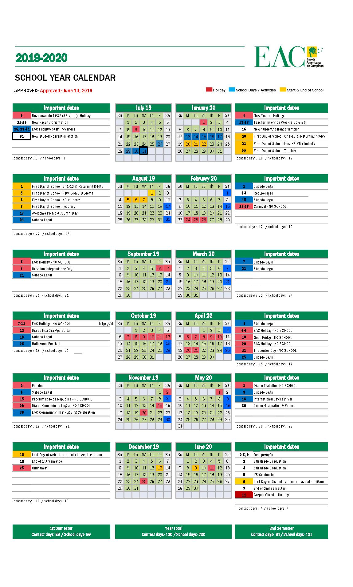 School Calendar – Escola Americana De Campinas For Academic Calendar For Delaware State