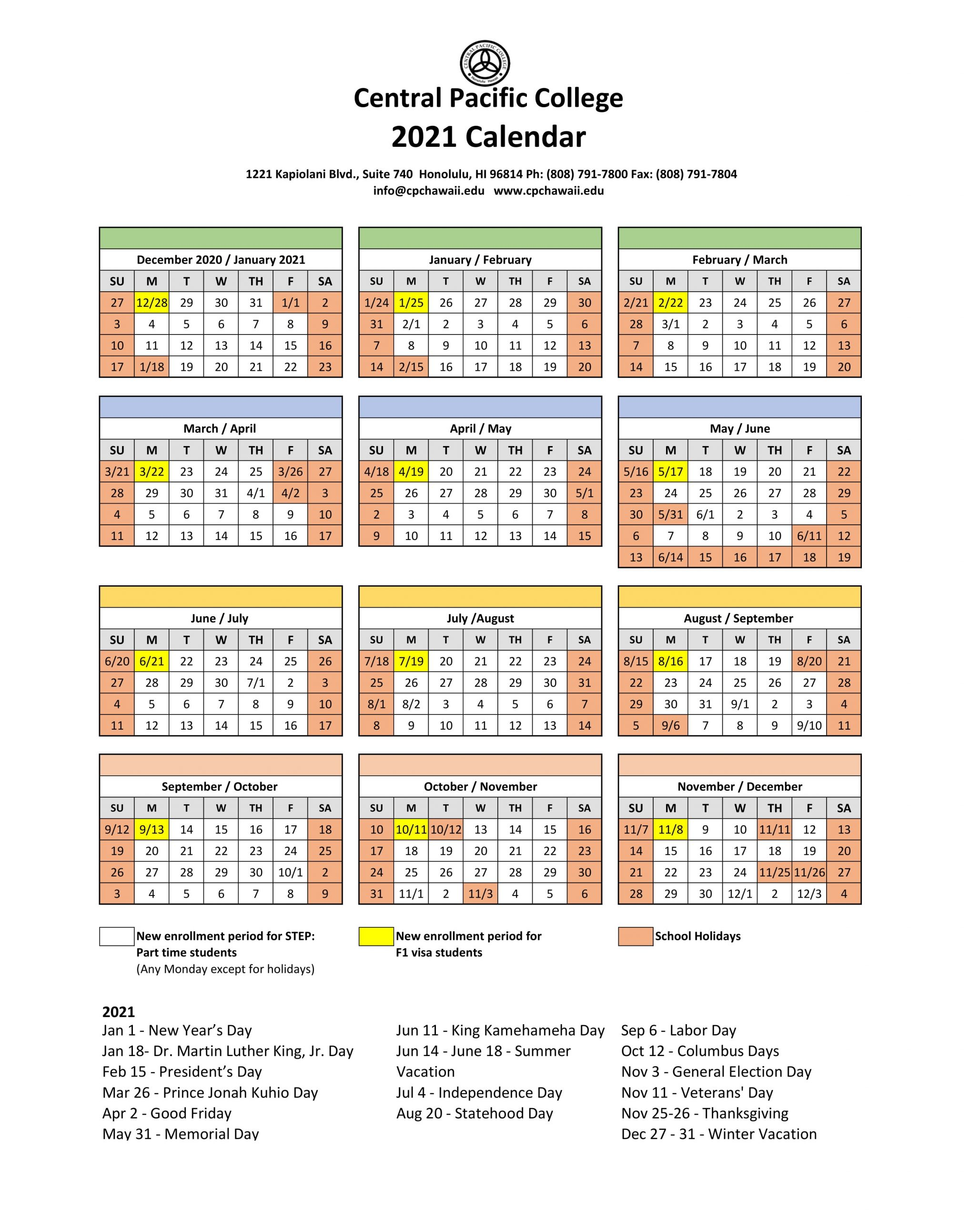 Schulplan - Central Pacific College Within Delaware State University 2021 2020 Calendar