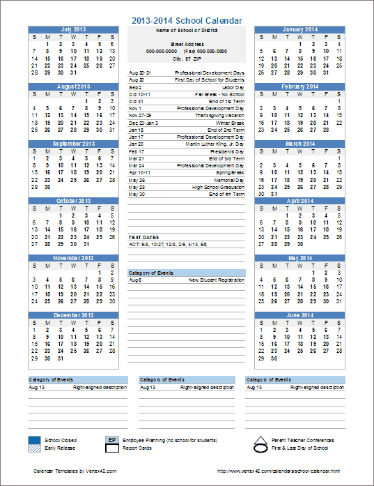 This Template Is Useful For Creating Official School In Academic Calendar For Delaware State