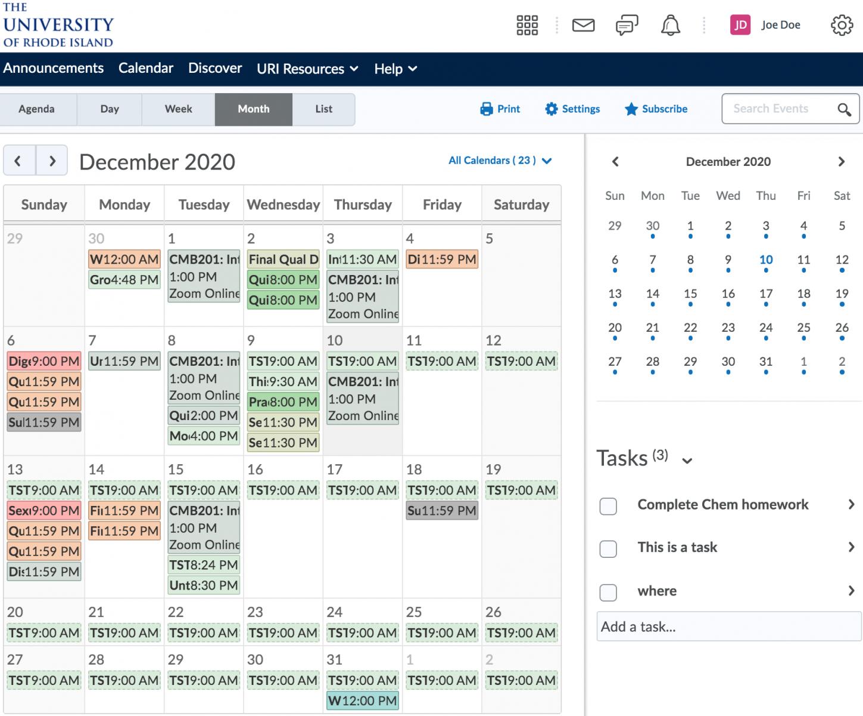 Using The Calendar – University Of Rhode Island :: Its Wiki Intended For University Of Rhode Island Calendar 2021 2020