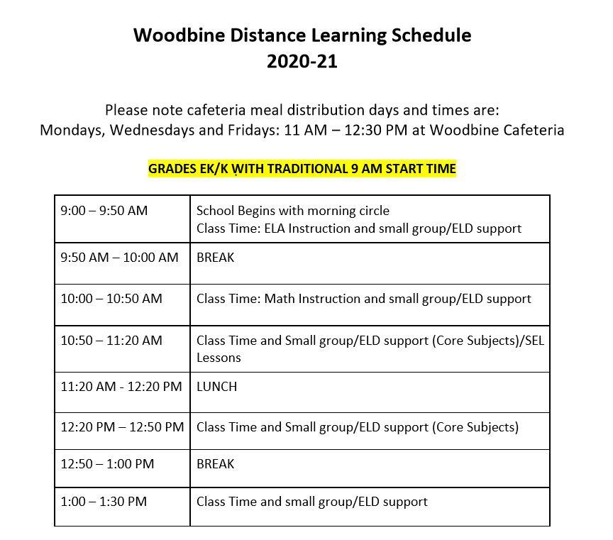 20 21 Distance Learning Schedule – Woodbine Elementary School Intended For Sacramento City School District Calendar 2021