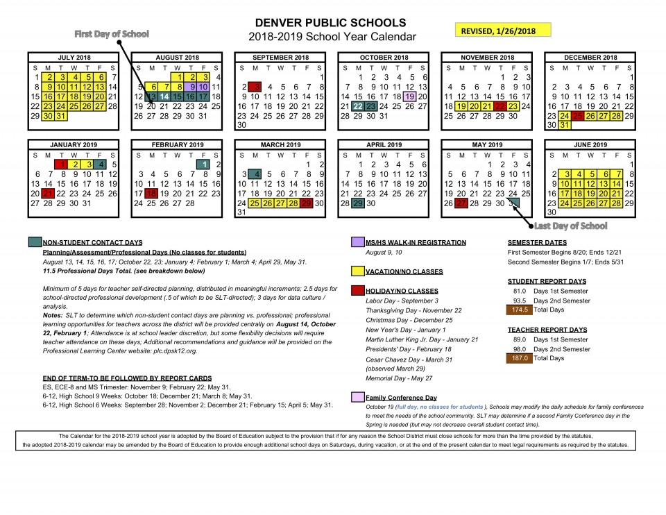 2018 19 School Calendar Approved | Denver Public Schools Within District 20 Spring Break 2021