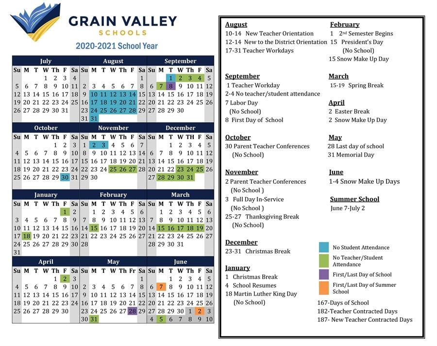 2020 2021 District Calendar – Grain Valley Schools Inside Wilkes Barre Area School District Calander 2021