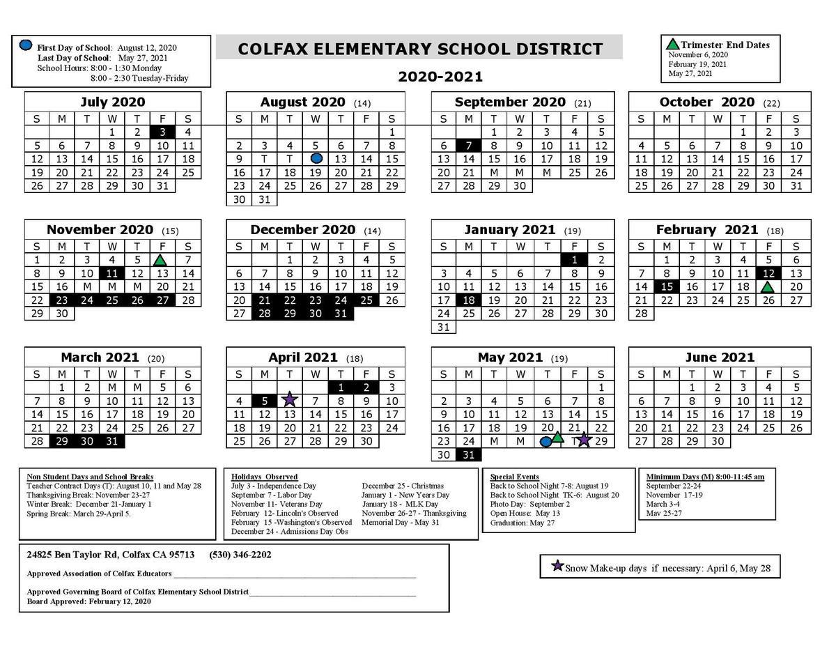 2020 2021 District Calendar – Schools – Colfax Elementary Pertaining To Wilkes Barre Area School District Calander 2021