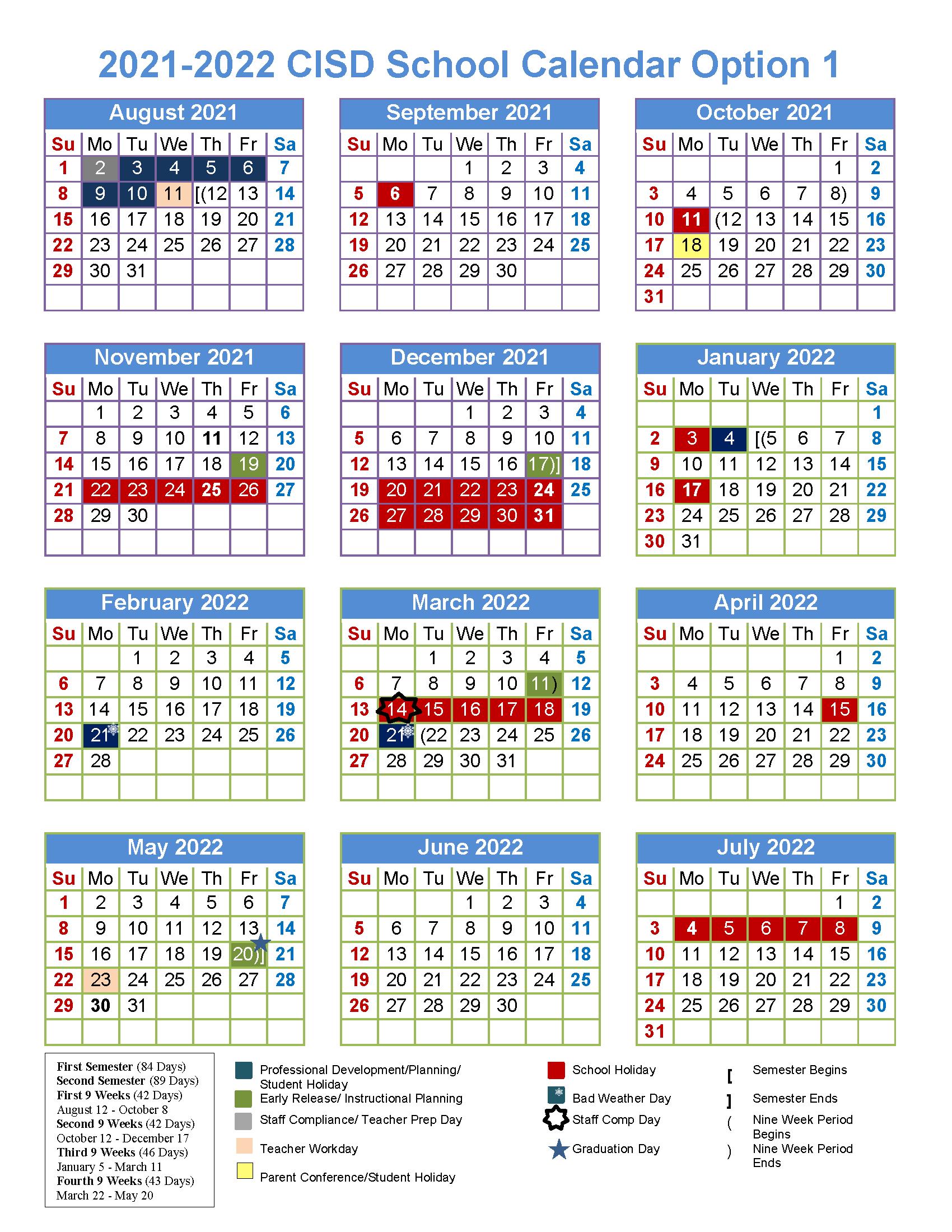 2021 2022 Cisd School Calendar Options Survey Throughout Billings School District 2 Calendar For 2021 2022