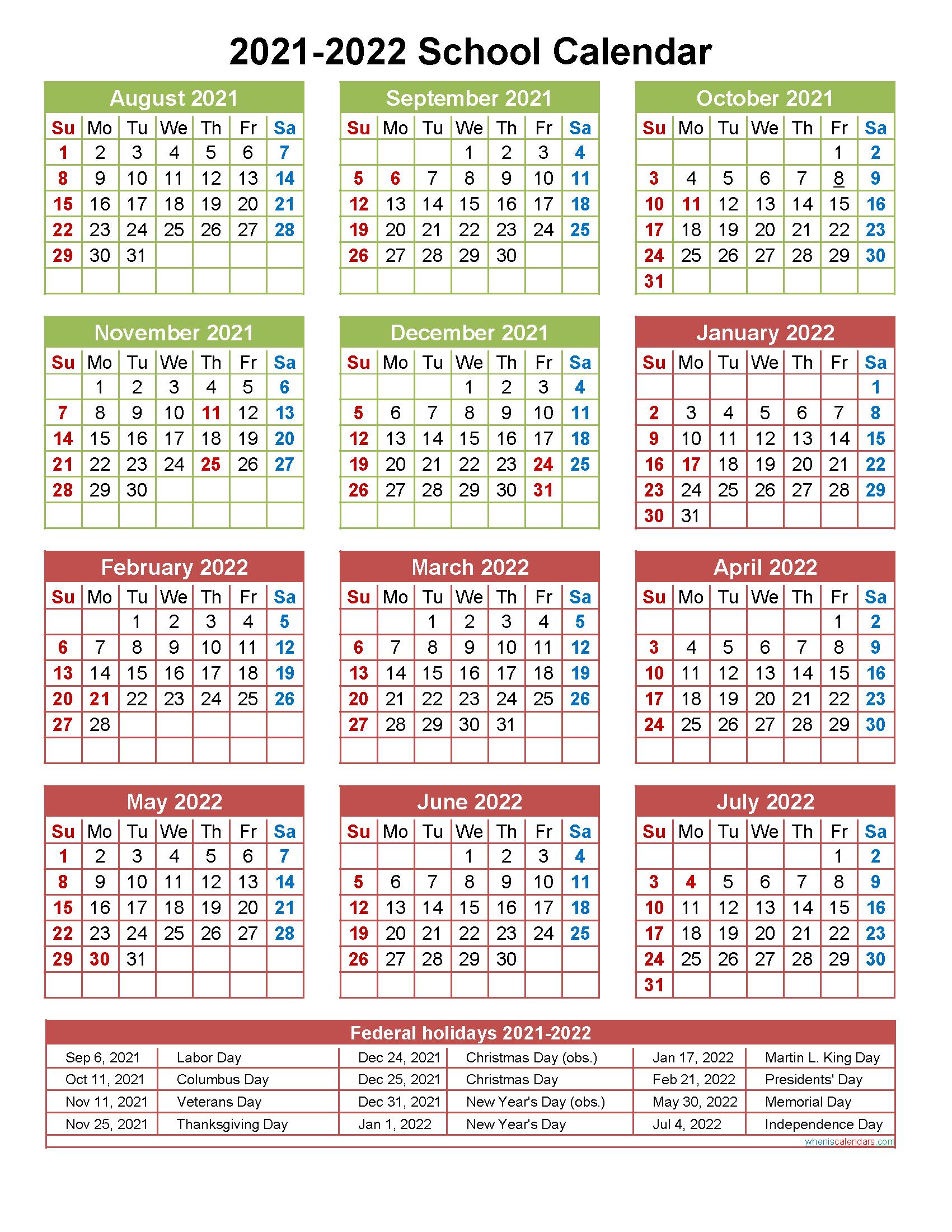 2021 And 2022 School Calendar Printable (Portrait With Billings School District 2 Calendar For 2021 2022
