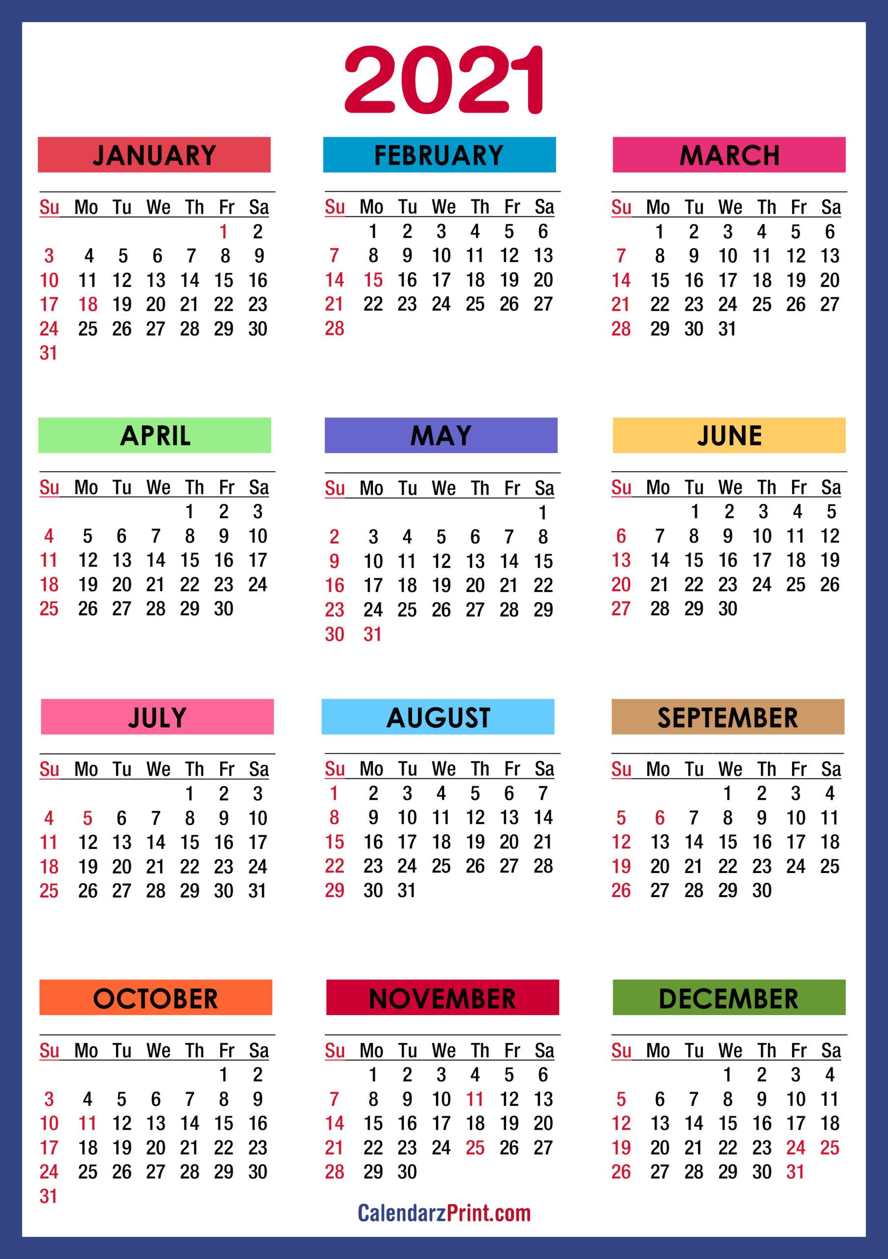 2021 Calendar Printable Pdf With Holidays   2021 Printable For 2021 Calendar With Federal Printabl