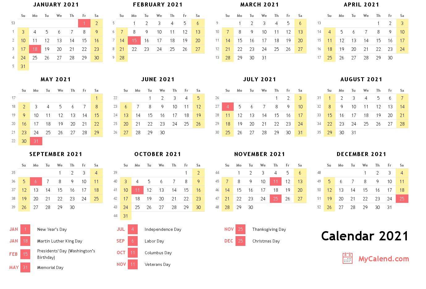 2021 Calendar With Holidays - Free Printable Calendar Inside 12 Mo Calendar 2021