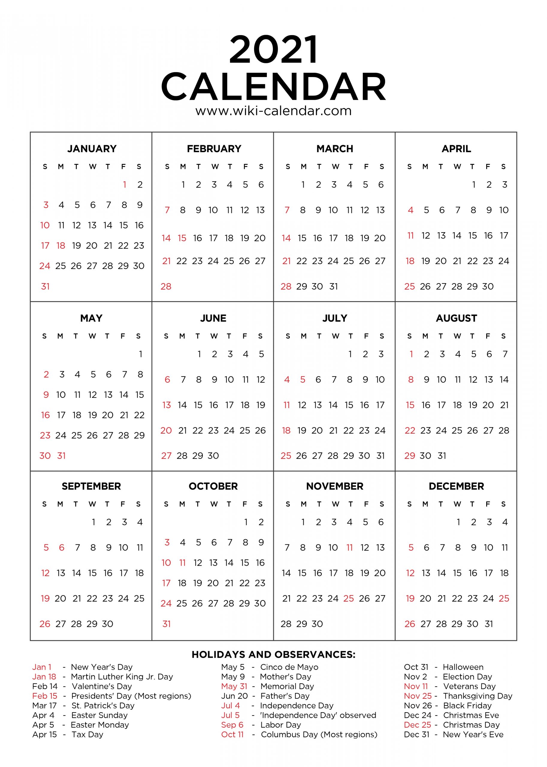 2021 Calendar With Holidays Printable   Calendar Template With 2021 Calendar With Federal Printabl
