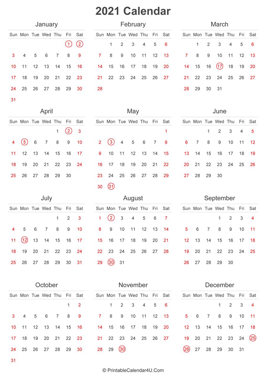 2021 Calendar With Uk Bank Holidays Highlighted (Portrait Inside 12 Mo Calendar 2021