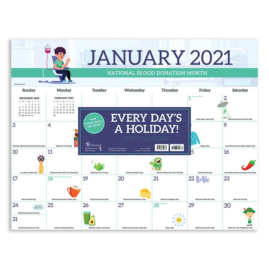 """2021 Every Day'S A Holiday 17""""X22"""" Desk Pad Monthly With Every Day A Holiday Calendar"""