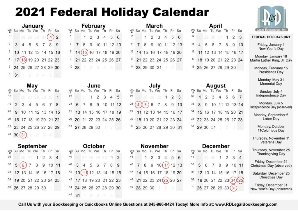 2021 Federal Holiday Calendar Printable Regarding 2021 Calendar With Federal Printabl