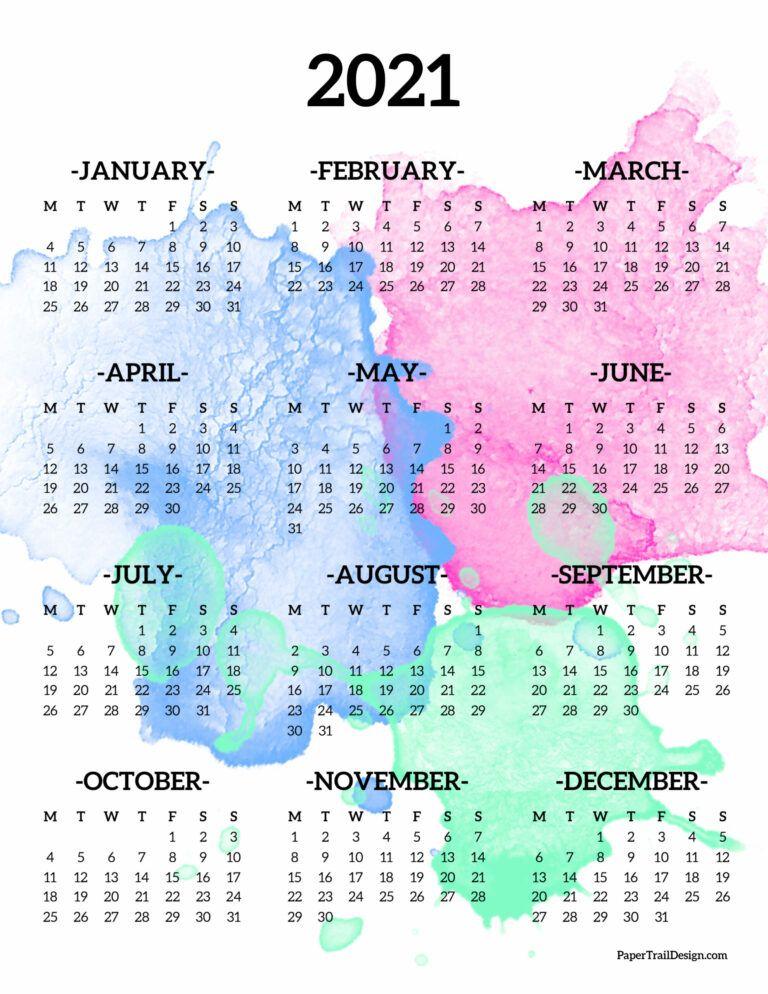 2021 One Page Calendar – Monday Start   Paper Trail Design For 454 Calendar 2021